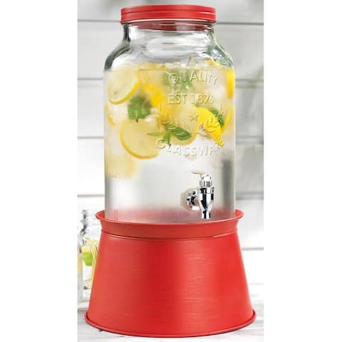 Palais Glassware High Quality Mason Jar Beverage Dispenser - Traditional Tin Screw Off Lid - 1.5 Gallon Capacity .