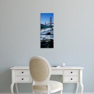 Easy Art Prints Panoramic Image 'Bridge, Sea, Golden Gate Bridge, Baker Beach, San Francisco, California' Canvas Art