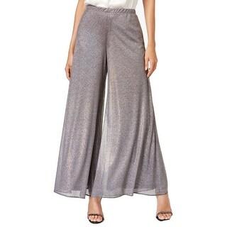 MSK NEW Silver Womens Size Large L Metallic Pull-On Palazzo Pants