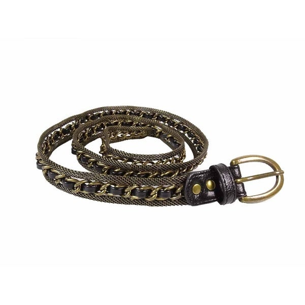 Steve Madden Women's Woven Leather Metal Chain Belt - Black