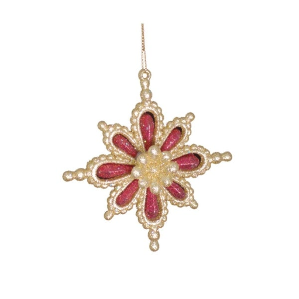 "4"" Gold and Red Dimensional Glitter Snowflake Christmas Ornament"