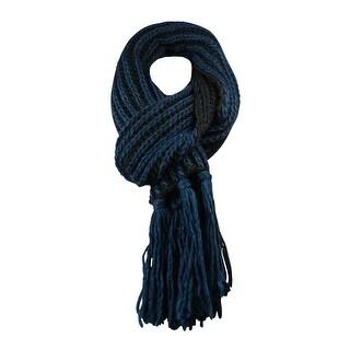 Corti Women's Knit Striped Fringe Scarf - Navy/Black - os