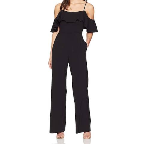 Eliza J Women's Jumpsuit Black Size 12 Wide Leg Cold Shoulder Ruffle