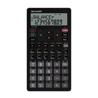 Sharp EL 738C 10-Digit Financial Calculator, LCD, 5.9 in W X 1/2 in D X 3.3 in H, Silver