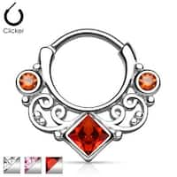Lace Swirl Gem w/ Square CZ Center Septum Clicker (Sold Ind.)