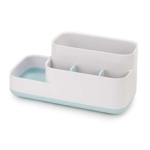 Joseph Joseph 70504 EasyStore Bathroom Storage Organizer Caddy Countertop, Blue - Blue & White