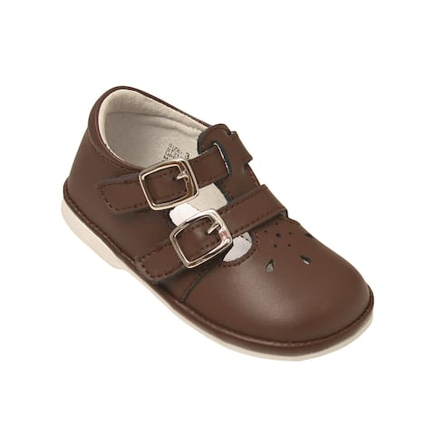 Angel Little Girls Brown Perforated Double Buckle Mary Jane Shoes 5 Toddler - 5 Toddler