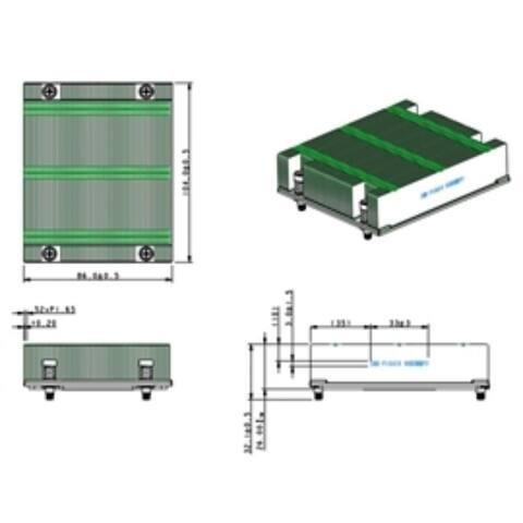 Supermicro Fan SNK-P1041V 1U Proprietary Passive CPU Heat Sink for 6U 10-blade Brown Box - Pictured