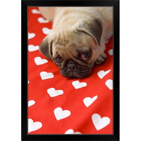 """Puppy love"" Black Framed Print"