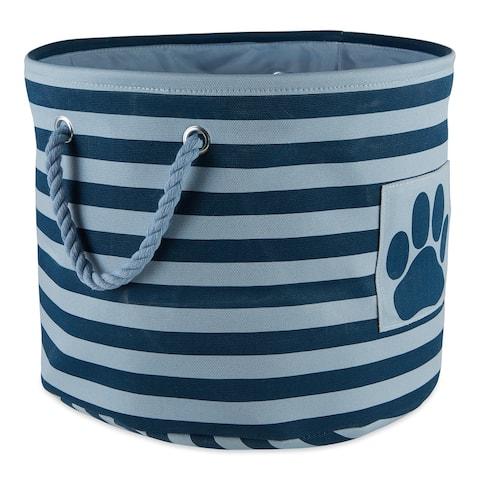 "15"" Navy Blue and Powder Blue Round Medium Bone Dry Polyester Pet Bin Stripe With Paw Patch"