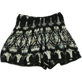 Aqua Womens Printed Crochet Trim Casual Shorts - M