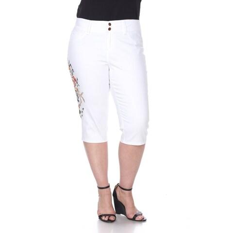 Plus Size Super Stretch Capri Embroidered Denim Jeans - White