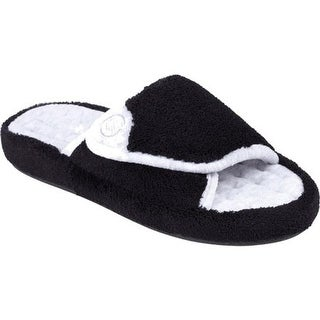 Isotoner Women's Microterry Pillowstep Spa Slide w/Memory Foam Black