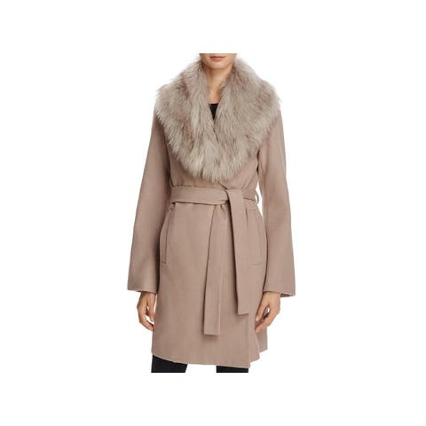 T Tahari Womens Flora Wrap Coat Winter Wool Blend