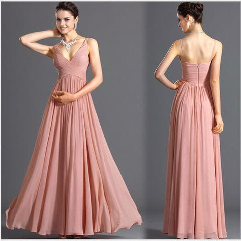 Women's Deep V Backless Sexy Thin Skinny Chiffon Dress Bridesmaid Dress