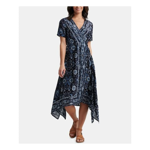LUCKY BRAND Blue Short Sleeve Midi Dress L