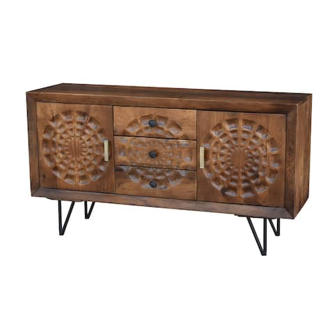 Aztec Mango Wood Buffet with 3 Drawers and 2 Doors