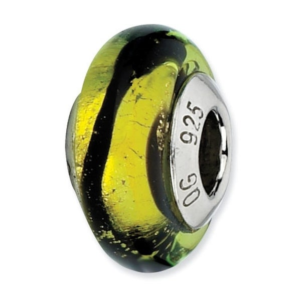 Italian Sterling Silver Reflections Lime/Black Stripes Bead