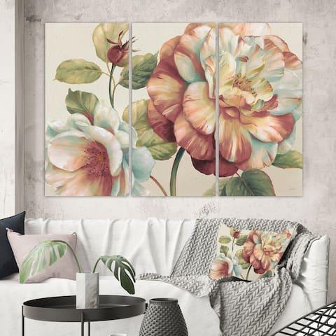 Porch & Den 'Romantic Dark Rose Blossing Flowers' Canvas Wall Art