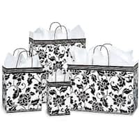 Pack Of 125, Assortment Floral Brocade Gloss Paper Shopping Bags 25 Rose, 50 Cub, 25 Vogue & 25 Queen