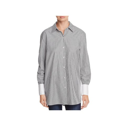 Kenneth Cole New York Womens Button-Down Top Striped Long Sleeve