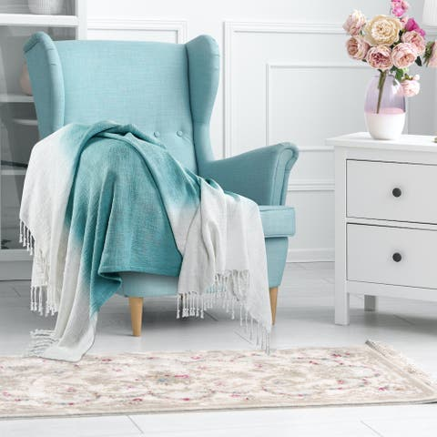 Angel Blue Shibori Slab Throw Blanket with Fringe