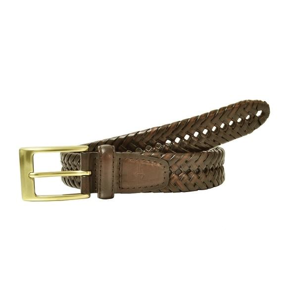 Dockers Men's Big & Tall Leather Adjustable Double V-Weave Braided Belt