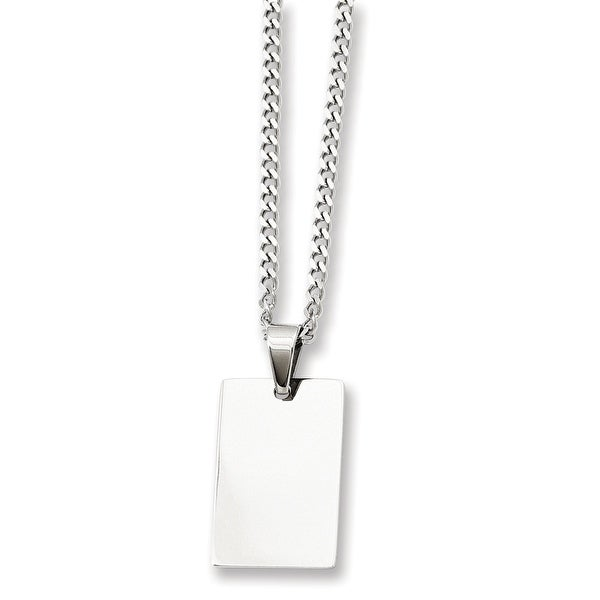 Stainless Steel Rectangle Dogtag Pendant 24in Necklace (2 mm) - 24 in