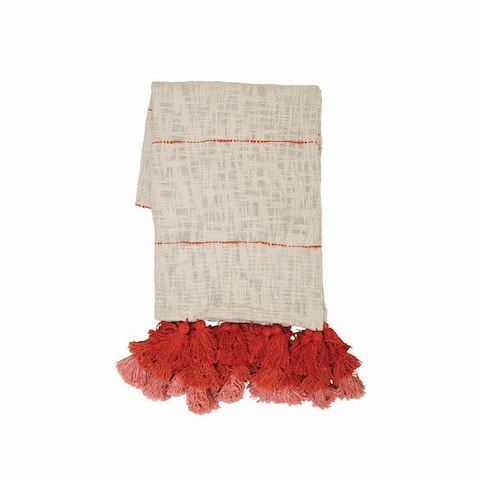 Foreside Home & Garden Cream Hand Woven 50 x 60 inch Cotton Throw Blanket with Hand Tied Red and Pink Tassels