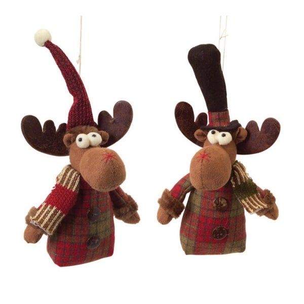 Pack of 12 Brown and Red Moos Hanging Ornaments 7""