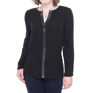 Lafayette 148 New York Long Sleeve V-Neck Blouse Women Regular Blouse