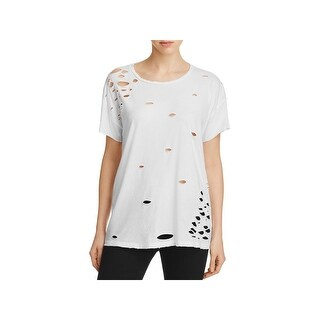 Alternative Apparel Womens Casual Top Distressed Short Sleeves