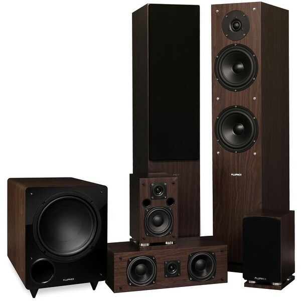 Fluance Elite Series Surround Sound Home Theater 5.1 Channel System - Walnut (SX51WR)