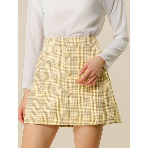 Women's Houndstooth Button Decor High Waist A-Line Mini Skirt