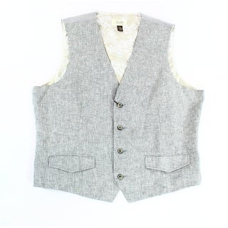 Tasso Elba Island NEW Gray Men Large L Textured V-Neck Button-Front Vest