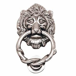 Large Chrome Cast Brass Lion Head Door Knocker 6 1/4 Inch X 3 5