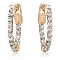 1.00 cttw. 14K Rose Gold Round Cut Diamond Hoop Earrings