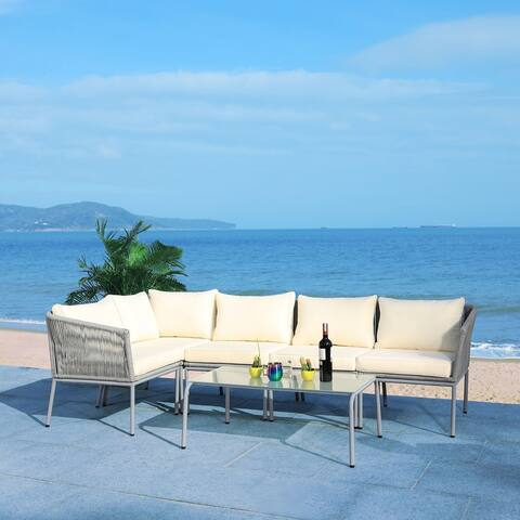 Safavieh Remsin Wicker Outdoor Sectional Living Set