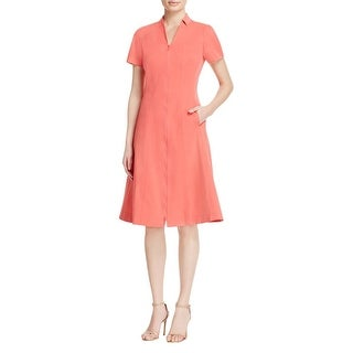 Lafayette 148 Womens Briella Party Dress Full Front Zip Short Sleeves