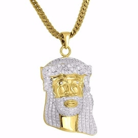 Designer Mens Jesus Face Pendant Simulated Diamonds 18K Gold Plate Franco Chain Hip Hop Iced Out