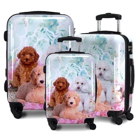 Poodle 3-Piece Hardside Lightweight Upright Spinner Luggage Set