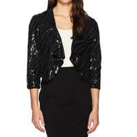 Kasper Black Womens Size 14 Sequin Shawl Collar Mesh Flyaway Jacket
