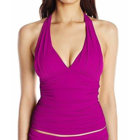 La Blanca Purple Women's Size 6 Tankini Top Gathered Swimwear