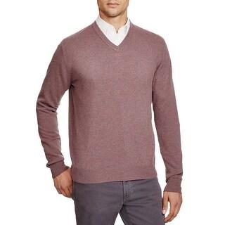 Bloomingdales Mens 2-Ply Cashmere V-Neck Sweater Large L Cardinal Melange