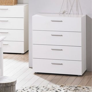 sports shoes 67df7 59cbd Contemporary Style White 4-Drawer Bedroom Bureau Storage Chest |  Overstock.com Shopping - The Best Deals on Dressers