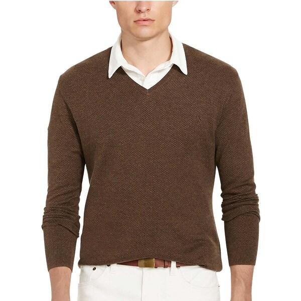 Polo Ralph Lauren Pima Cotton Herringbone V-Neck Sweater Dark Brown XX-Large 28e4d9e8a