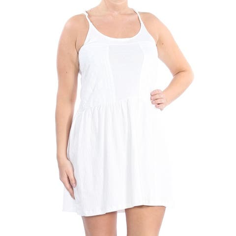 ROXY Womens Ivory Sleeveless Above The Knee Fit + Flare Dress Size L
