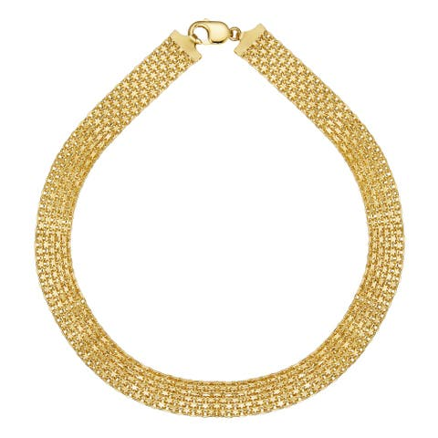 """Forever Last 18 k Gold Overlay Yellow 18"""" Wide Bismark Chain"""