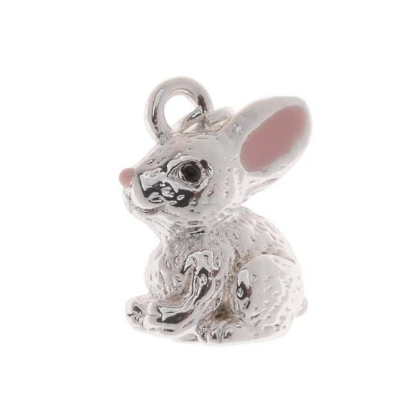 Silver Plated With Enamel 3-D Bunny Rabbit Charm 15mm (1)