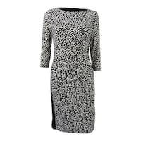 Lauren by Ralph Lauren Women's Geometric Pattern Sheath Dress - Black